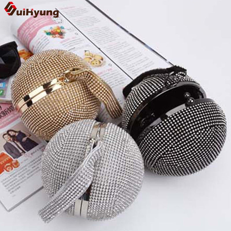 New Arrival Women Rhinestone Ball Clutch Fashion Full Diamond Evening Bag Tote Wedding Banquet Party Handbag Chain Shoulder Bag europe new upscale butterfly diamond evening bag full diamond party handbag clutch