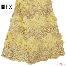 HFX Embroidered Tulle Lace Fabric, Pearls Applique Fabric For Wedding, High Quality African 3D Flower F1995