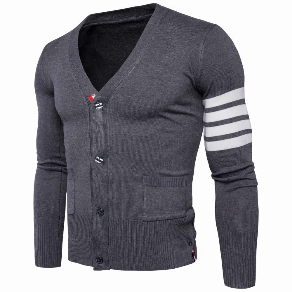 New Hot Men Sweater Business Casual Slim Knit Sweater V-Neck Design Sing Breasted Long-Sleeved Solid Men Cardigans