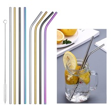2019 Environmental friendly stainless steel straw reusable cleaning brush set with metal family