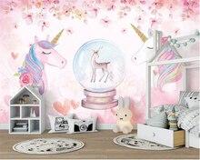 Купить с кэшбэком Beibehang Custom 3D Wallpaper Watercolor Unicorn Art Mural Life Bedroom Hallway Children Room Background Photo Wallpaper behang