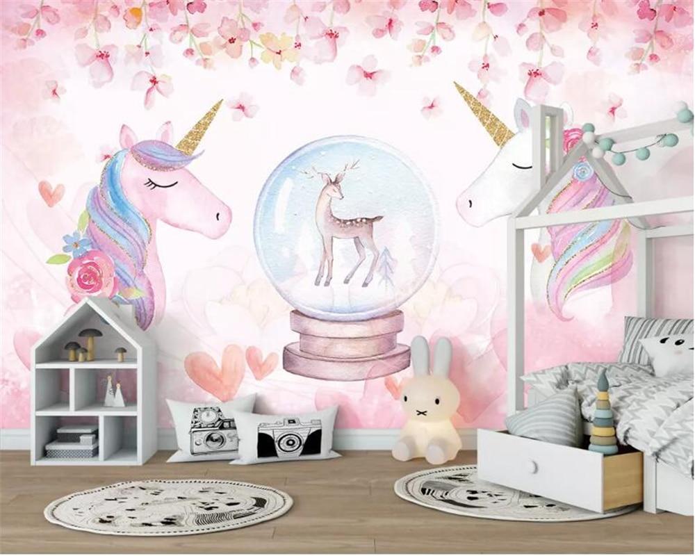 Beibehang Custom 3D Wallpaper Watercolor Unicorn Art Mural Life Bedroom Hallway Children Room Background Photo Wallpaper behang
