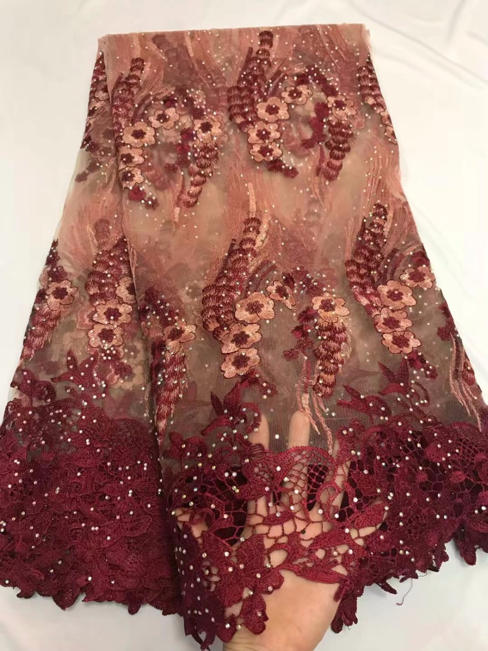african fabric 2018 wine tulle lace fabric with stones tissus guipure tulle  perle dentelle high quality 5yard lotZQF-81 6786c8c37523