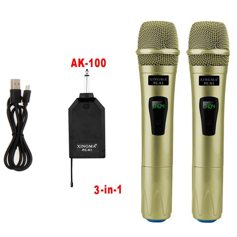 XINGMA PC-K1 Wireless Microphone Professional Handheld 2 Channels Studio Dual VHF Dynamic Mic For Karaoke System Computer KTV