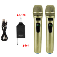 XINGMA PC K1 Wireless Microphone Professional Handheld 2 Channels Studio Dual VHF Dynamic Mic For Karaoke System Computer KTV