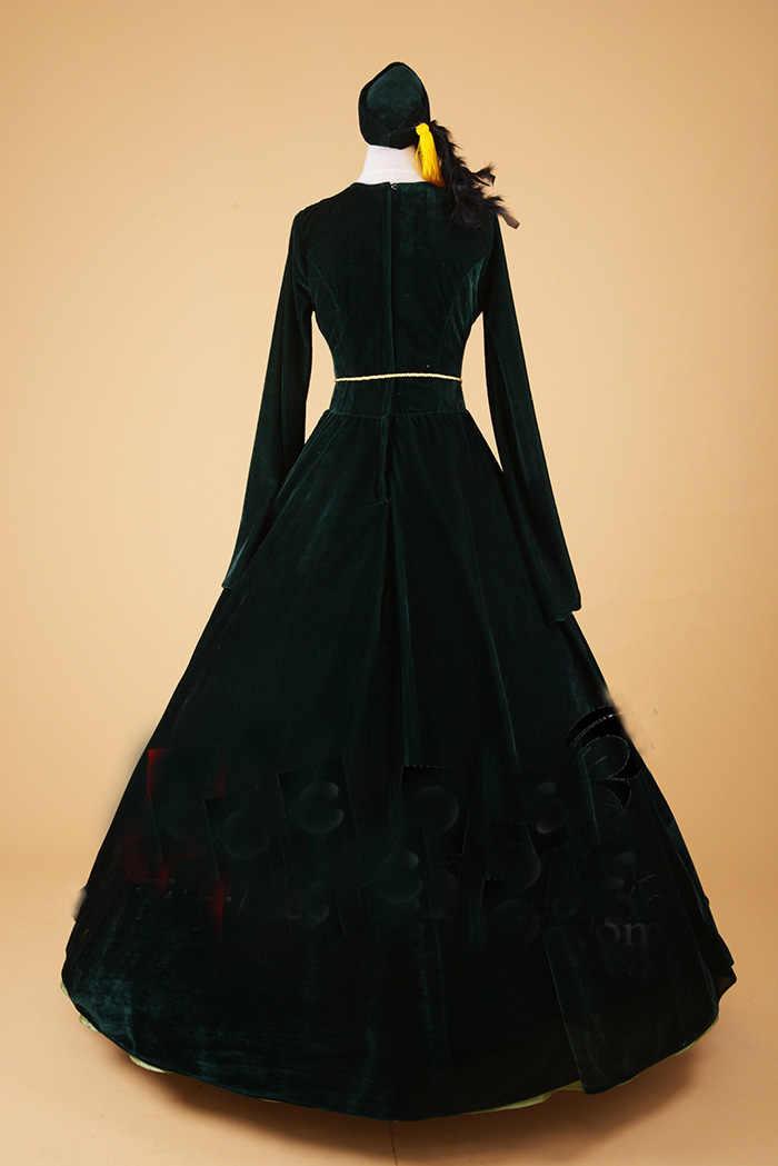 a9a069ef59a ... 100% настоящий черный бархат с зеленым вуаль бальный наряд с шляпа  Средневековом Платье эпохи Возрождения ...