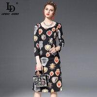High Quality Fashion Designer Runway Autumn Dress Women S 3 4 Sleeve Black Printed Knee Length