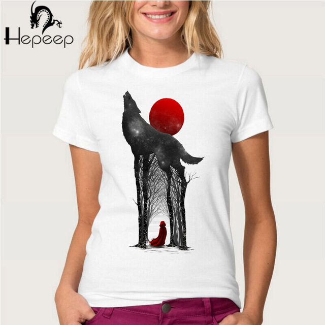 Game of Thrones Novelty Design Wolf print Hipster O-neck Casual Women's T-shirt