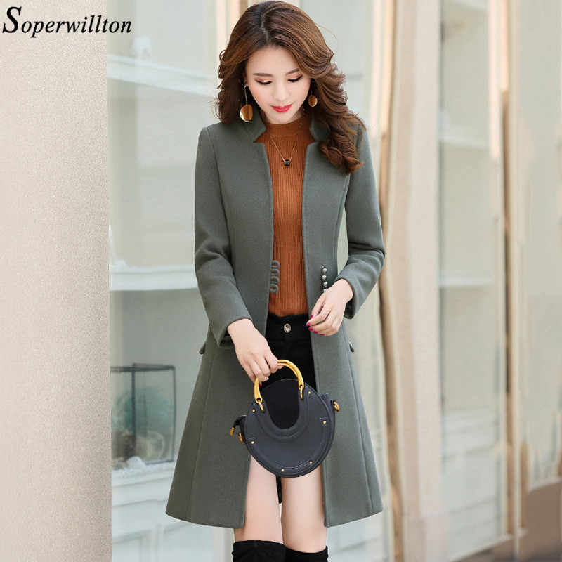 Women Elegant Lady Wool Blend Coat 2019 Autumn Winter Single Breasted Long Woolend Jacket Female Outerwear Black Khaki Slim WC1