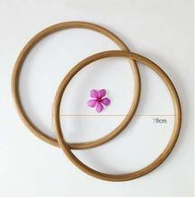 1 pary = 2 sztuki 3 kolory 12cm 13cm 15cm 19cm materiał bambusowy okrągły pierścień torba z dzianiny torebka uchwyt kobiety torebka spawanie koło uchwyt tanie tanio Rafarad Round Wood Bag handle wooden