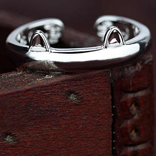 925 Sterling Silver Lady แหวนสัตว์น่ารัก Cat แหวน 1 PCS แฟชั่นเครื่องประดับสำหรับผู้หญิงอุปกรณ์เสริม