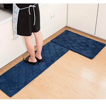 2pcs Set 9 Colors Memory Foam Kitchen Mat Anti Skid Bathroom Carpet Modern Printed Bedroom Area Rug 40x60cm And 40x120cm