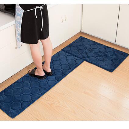 2pcs/set 9 Colors Memory Foam Kitchen Mat Set Anti Skid Bathroom Carpet  Modern