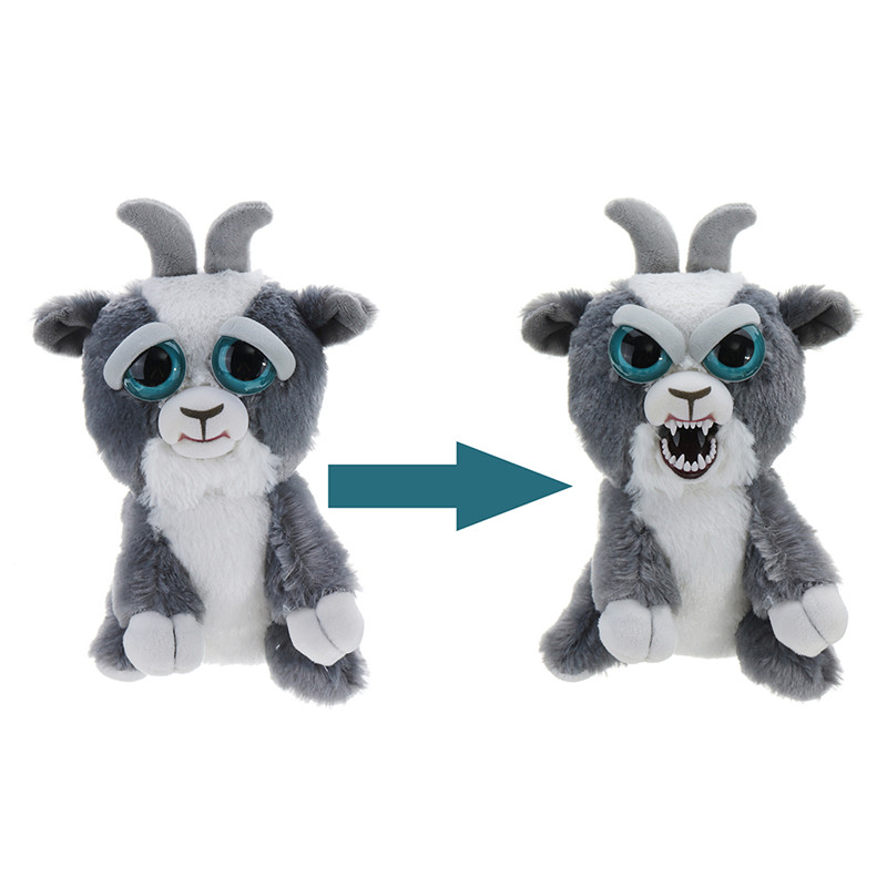 Feisty Pets 1pcs Change Face Goat Sudden Changing Expression Growling Plush Stuffed Animal Doll For Kids Children Anti stress
