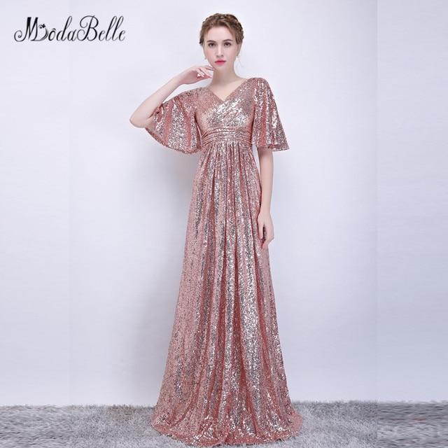 2360510777 Modabelle Luxury Sequin Rose Golden Prom Dress V neck Vestidos Short sleeve  2018 New Arrival Navy Blue Special Occasion Dresses