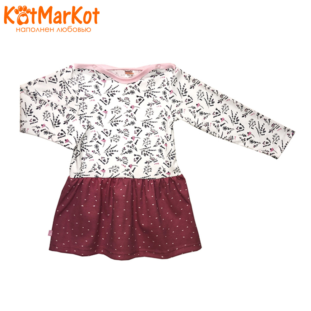 Фото - Dresses Kotmarkot 7097  baby dress for a girl tunic for newborns  summer  Cotton Casual plus lace insert floral tunic dress