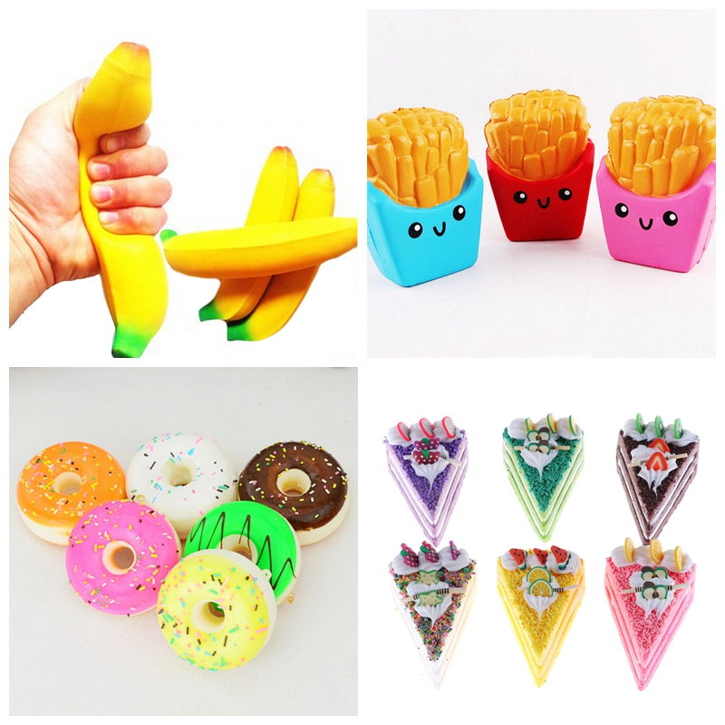 1pc Antistress Doughnut/banana/French Fries Scented Sweet Cream Charms Bread Kids Toy Squishy Slow Rising Kawaii Squishies