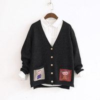 Women S Autumn Winter Warm Loose Sweaters Cotton Knit Soft V Neck Single Breasted Pocket Long