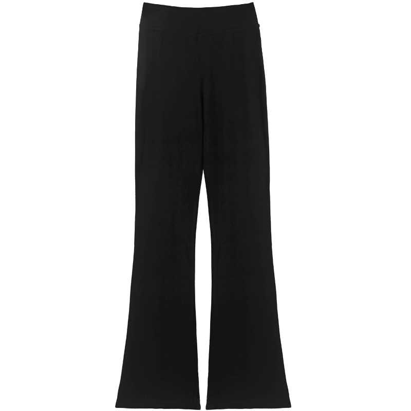 Kızlar rahat siyah pantolon Flare pantolon pamuk jimnastik spor bale dans pantolon