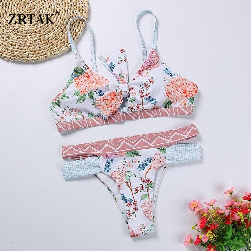 Zrtak Bandage Floral Bikini Bow Swimsuit Push Up Swimwear Female Print Biquini Feminino Bathing Suit Women Monokini Bikini Set