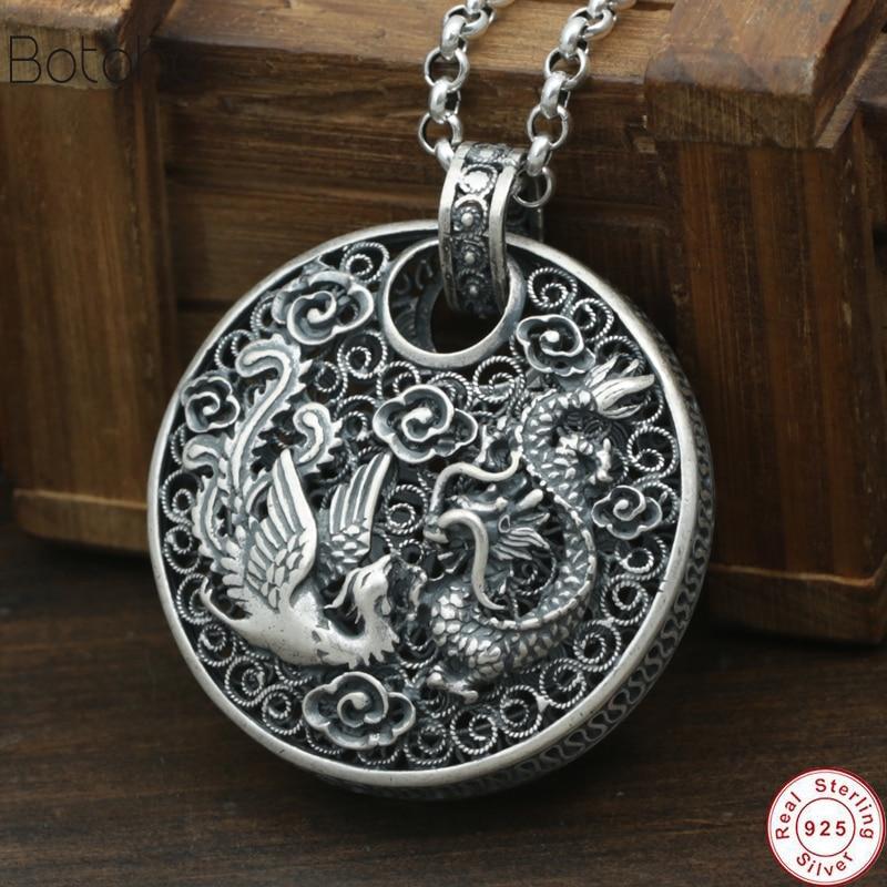 Nouveau 925 argent Phoenix pendentif Dragon Animal bonne chance 100% pur S990 solide Thai argent pendentifs pour femmes hommes fabrication de bijoux