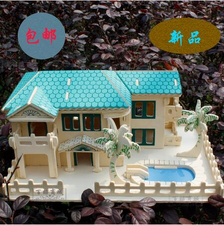 3D wooden model DIY puzzle toy baby birthday gift hand work assemble beach house Villa wood game woodcraft construction kit 1set puzzled gothic house wooden 3d puzzle construction kit