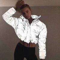 Fashion flash reflective women padded jacket short tops warm 2019 autumn winter solid zipper oversize loose outwear coats casual