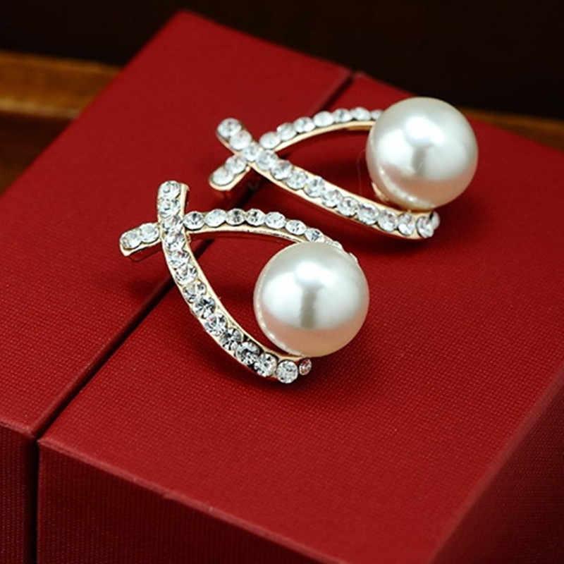 E0156 Fashion Jewelry Simulated Pearl Drop Earrings Cute Bowknot Dangle Earrings For Women Shiny Crystal Wedding Jewelry Elegant