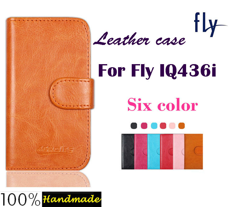 New arrival! Flip Leather case cover for Fly IQ436i ERA Nano 9 Mobile phone with card holder wallet style six colors.
