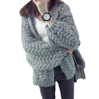 2017 New Autumn Winter Coat Thick Warm Twist Loose Women Sweater Girls Long Sleeved Short Knit