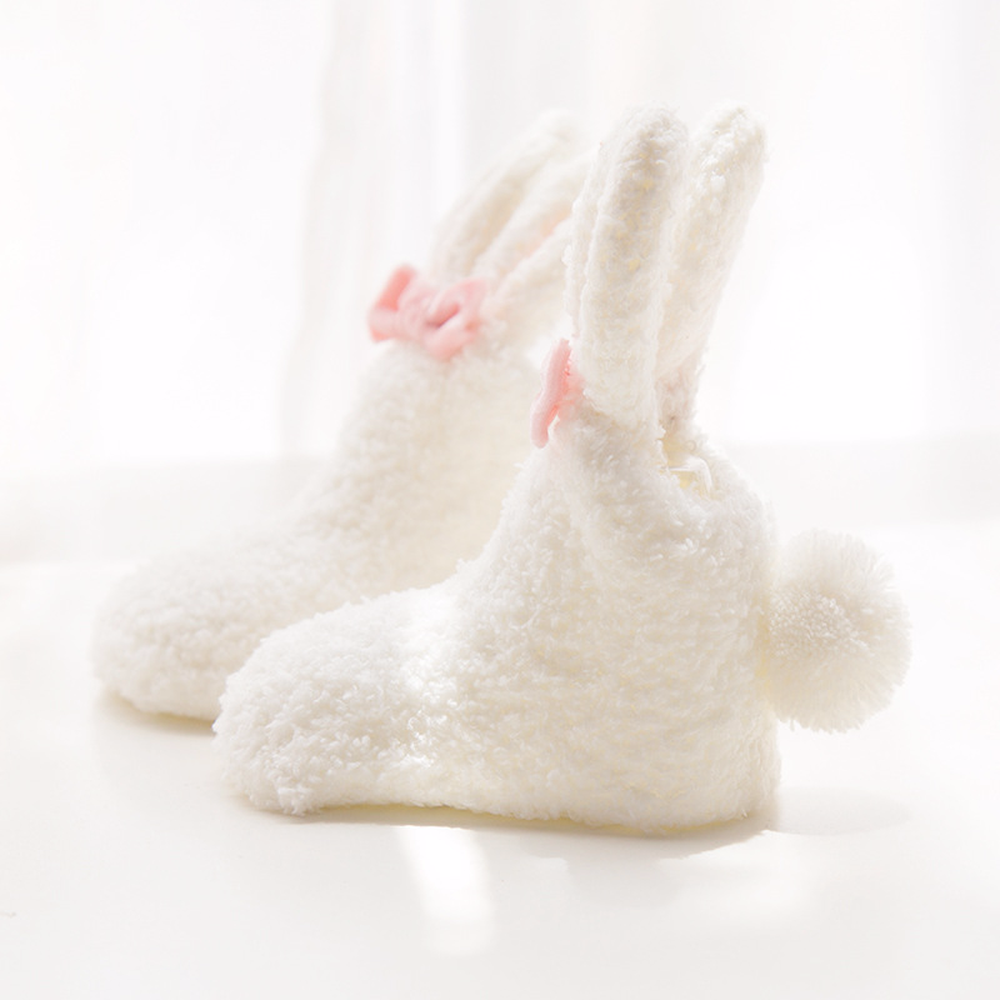 0 3 Year New Winter Thick Coral Velvet Non slip Baby Socks Stereo Cute Little Bunny Girls Socks Newborn Baby Socks 3 Colors in Foot Socks from Mother Kids