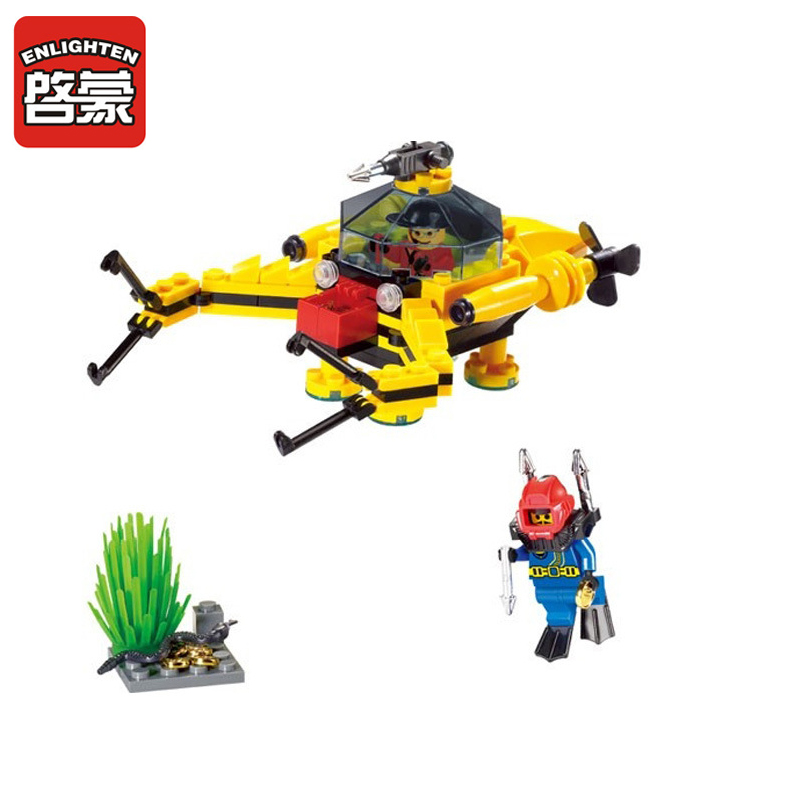1214 ENLIGHTEN City Series Treasure Digging Submarine Model Building Blocks DIY Action Figure Toys For Children Compatible Legoe b1600 sluban city police swat patrol car model building blocks classic enlighten diy figure toys for children compatible legoe
