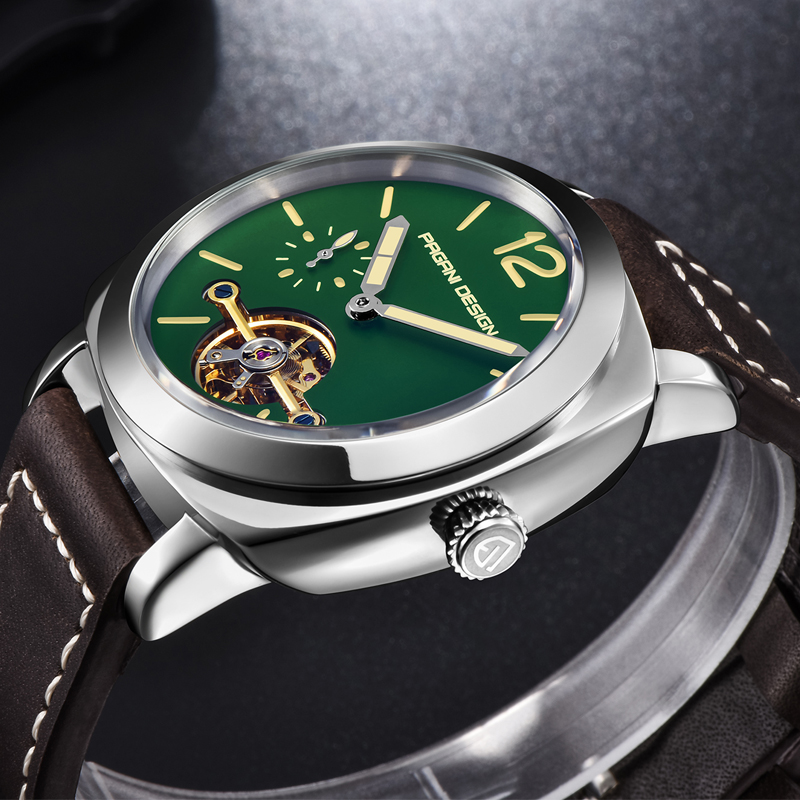 Men's Automatic Mechanical Watch Leather Military Waterproof Watch