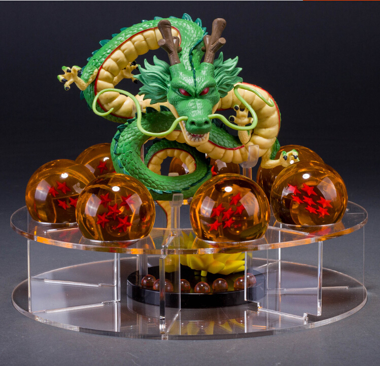 Dragon Ball Z Figurines Shenron Action Figure Shenlong Dragon Ball With Balls Set + 7PCS Crystal Dragonballs + Acrylic Shelf