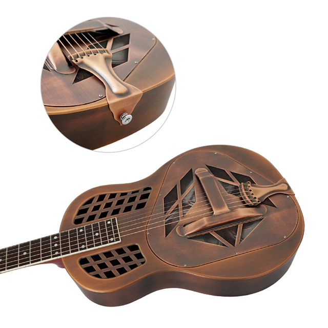 Aiersi Brand Antique Red Rust Bell Brass Metal Tricone Resonator Guitar Free Case and Strap 1