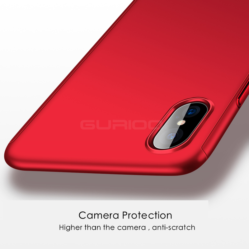 GURIOO 360 Protective Case For iPhone 5S SE 6 6S 7 8 Plus X Tempered Glass Front Back Cover Full Body Coverage Protection Shells