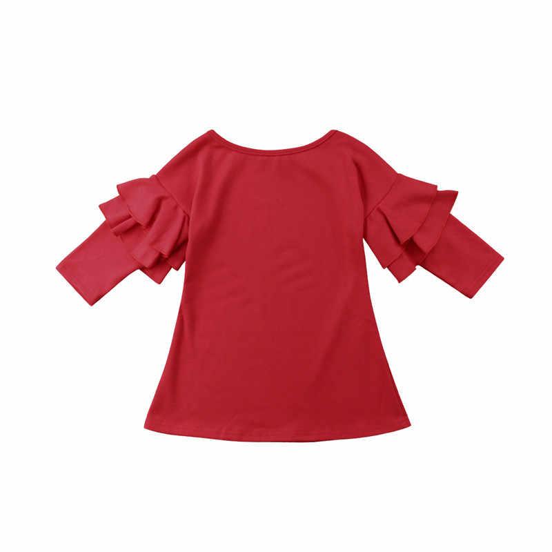 FOCUSNORM ยี่ห้อชุดเด็กผู้หญิงสีทึบปิดไหล่ยาวกลีบฝ้ายเจ้าหญิงชุด