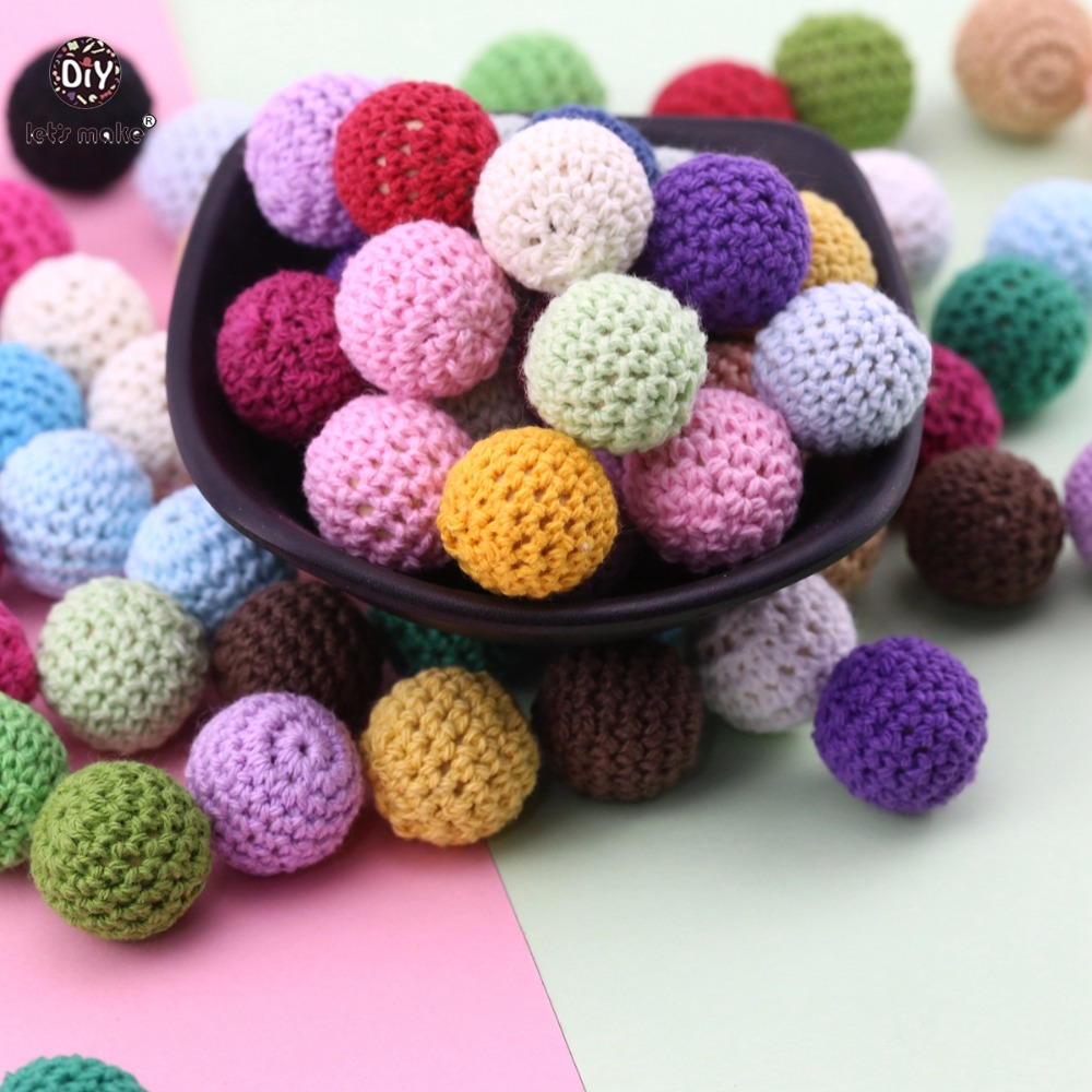 Let s make Baby Accessories 16mm 10pc Crochet Beads Can Chew DIY Nursing Jewelry Organic Teething