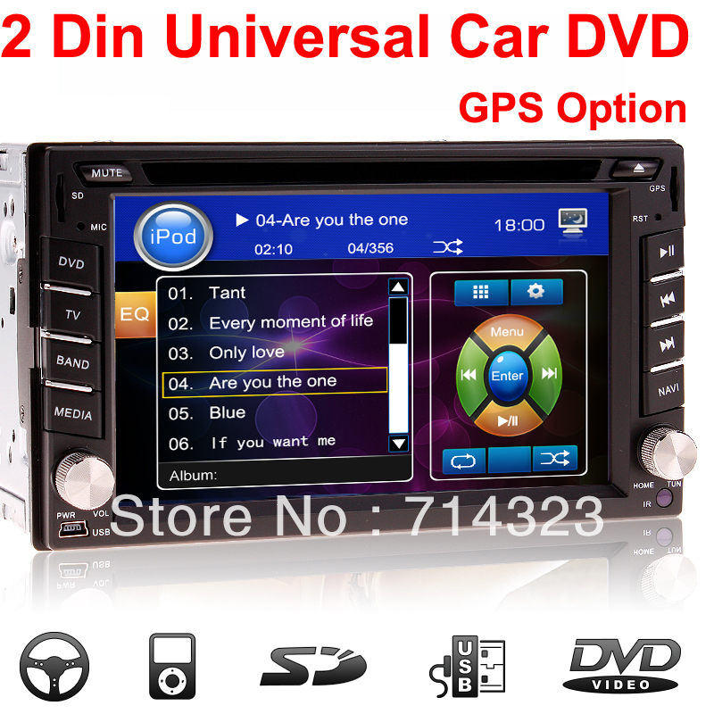universal 2 two din 6 2 in dash car dvd player gps optional audio radio stereo fm usb sd. Black Bedroom Furniture Sets. Home Design Ideas