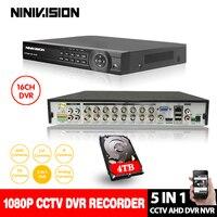 AHD DVR 16ch 1080 P Системы домашнего наблюдения 16 канальный безопасности CCTV DVR видеомагнитофон HDMI 1080 P 16 каналов AHD видеорегистратор NVR 4 ТБ