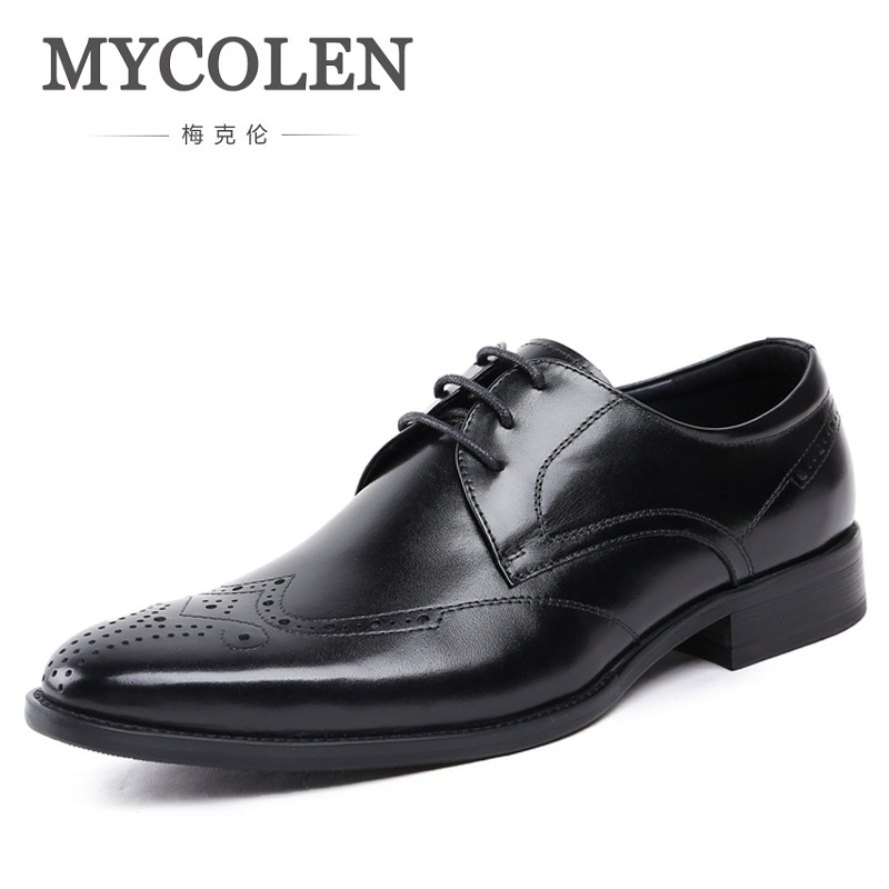MYCOLEN Genuine Leather Brogue Business Formal Dress Men Shoes Classic Office Wedding Mens Shoes Casual Oxford Italian fashion genuine leather men oxford shoes slip on casual office formal business men shoes brand men wedding shoes men dress shoes