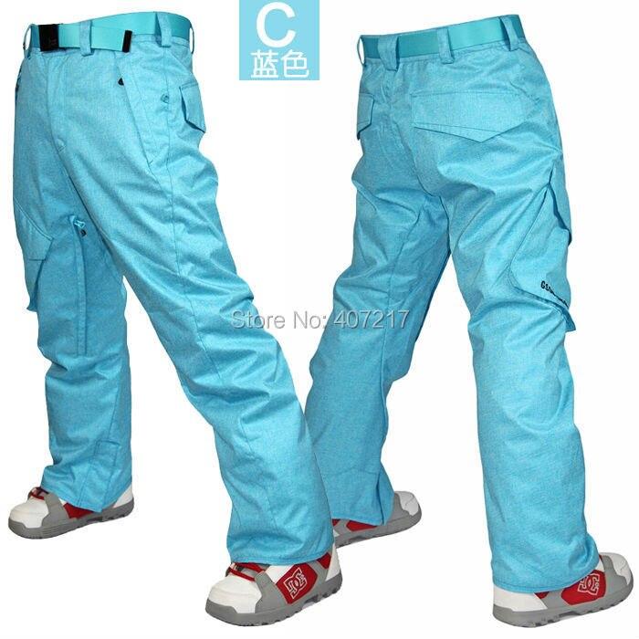 2016 pantalon de ski bleu homme pantalon de ski skate homme gris pantalon de neige rembourré pantalons de ski imperméable 10 K jupon de ski chaud