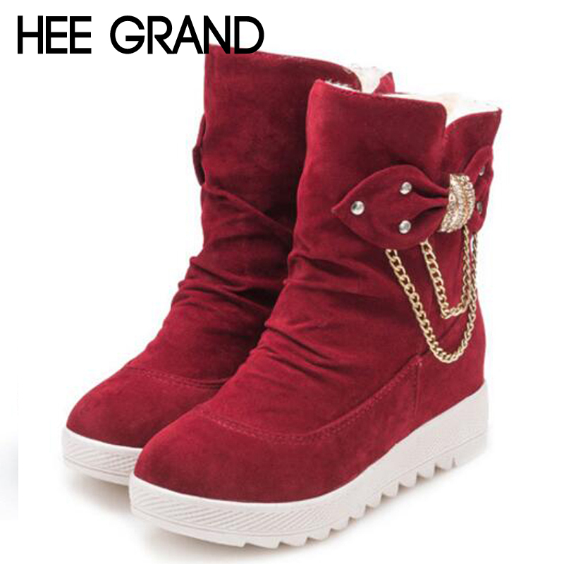 HEE GRAND Metal Decoration Bow Tie Ladies High Fashion Boots Female Autumn and Winter Snow Boots Women Shoes  XWX6053 автотрек dave toy автомойка 32033