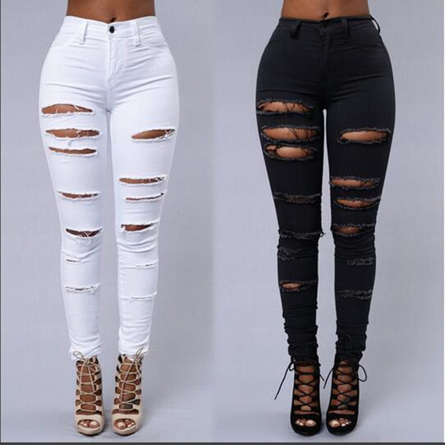 6717e050324 New 2017 Fashion Women Ripped Jeans Pants High Waist Skinny Jeans Sexy Hole  Denim Jeans Girls White/Black Vintage Pencil Pants