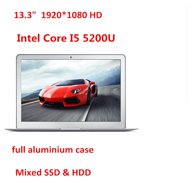 "13""  ultrabook aluminium laptop computer I5 5200U 5th. Gen laptop 4GB 128GB SSD 1920*1080 HD screen backlit keyboard"