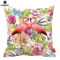Watercolor Tropical Floral And A Pair Of Flamingos Bird Pattern Print Home Decoration Pillow Decorate Pillow
