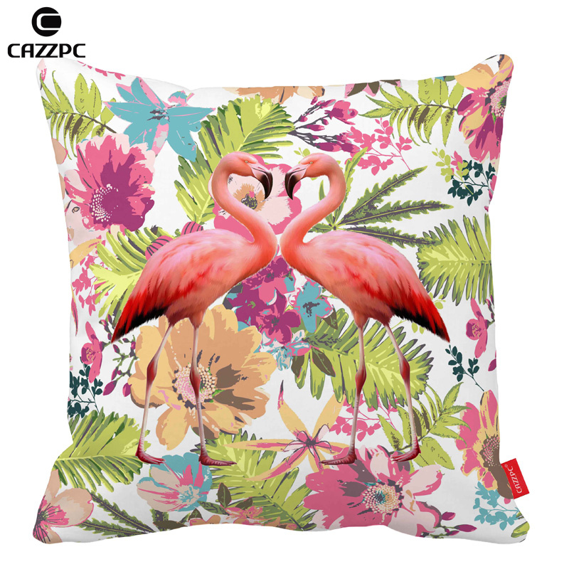 Watercolor Tropical floral flamingos Bird Car Decorative Throw Pillowcase Pillow cases Cushion Covers Sofa Chair Home Decor