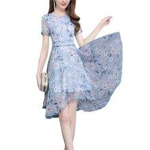 Mulheres verão Uma Linha Grande Balanço Doce Impressão Do Joelho-comprimento Vestido de Chiffon Vestidos XHWS-029