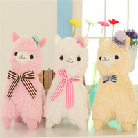 Super Cute 35cm Alpacasso Horse Standing Topper Hat Alpaca Stuffed Animal Sheep Toy Doll Kids Christmas
