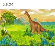 Laeacco Jurassic Dinosaur Park Baby Birthday Party Cartoon Wallpaper Photo Backgrounds Photography Backdrops Studio